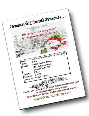 Holiday Singing Concert Oceanside Long Island with Holiday 2016 Program -  The Oceanside Chorale