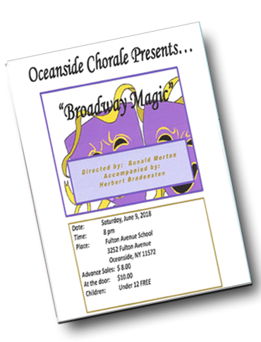 Singing Concert Oceanside Long Island NY 2018 Program -  The Oceanside Chorale Singing Oceanside NY