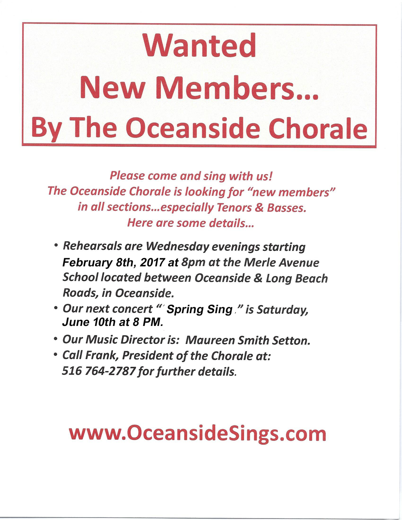 Singing Group Chorus on Long Island NY looking for new members in Oceanside, Rockville Centre and Nassau County